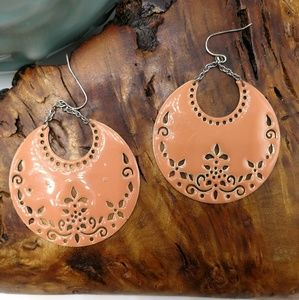🌵 vintage peach enamel disc lace gypsy southwest
